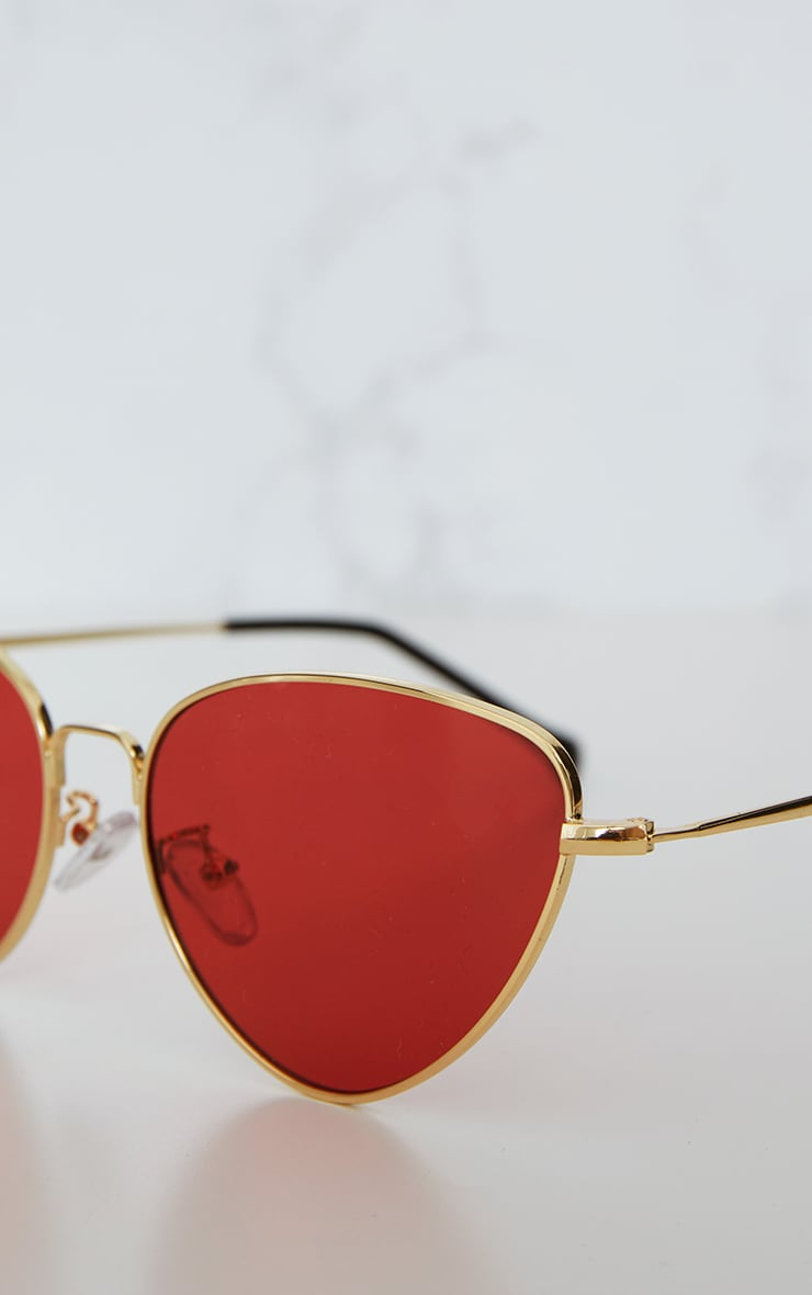 Red Cat Eye Lens Retro Sunglasses 4