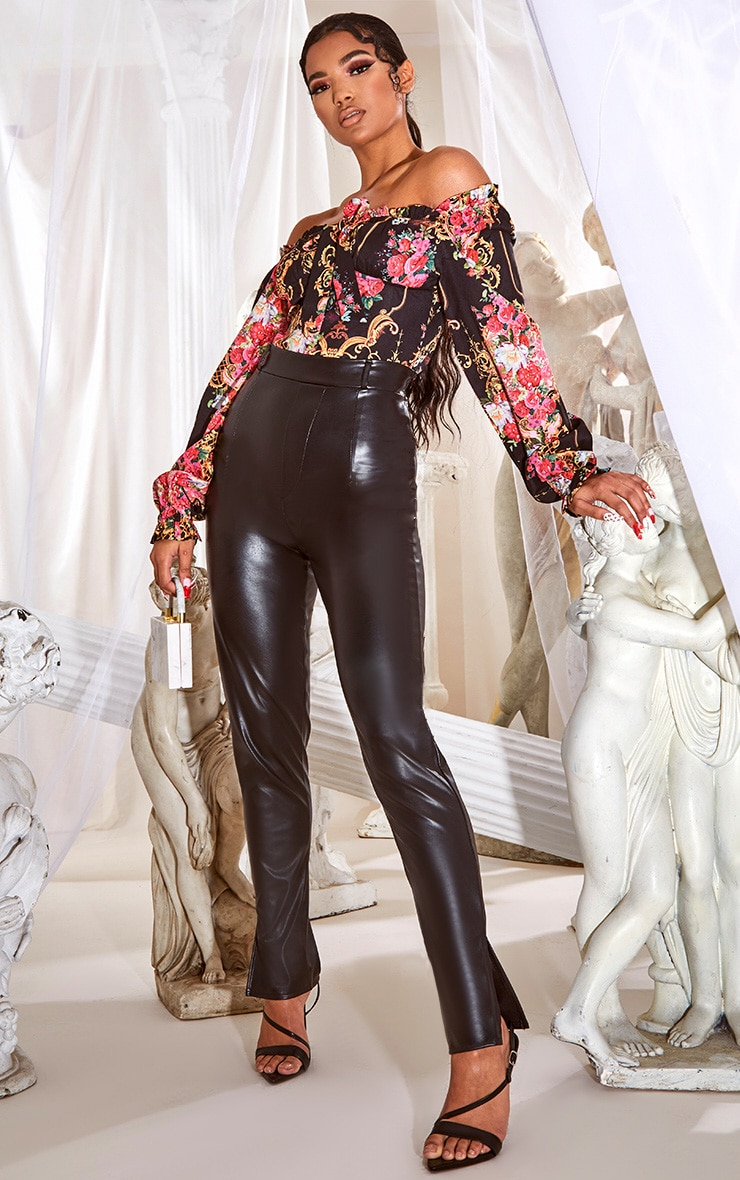 Black Faux Leather Split Hem Skinny Pants 1
