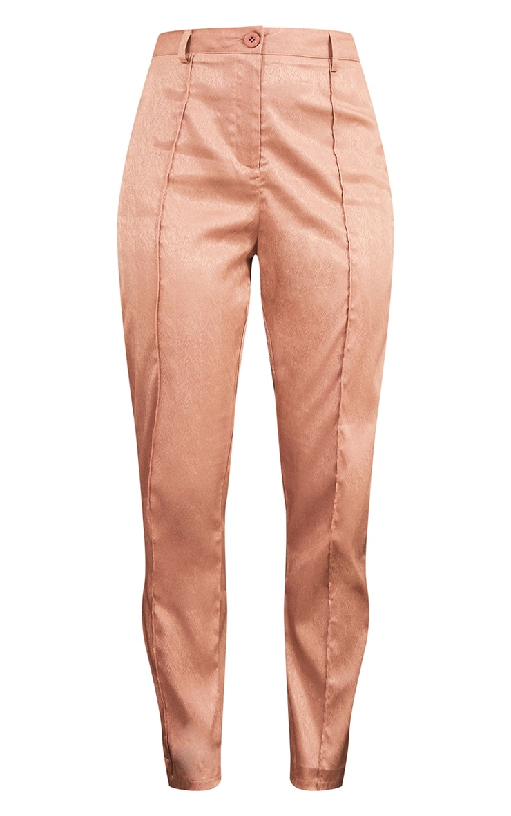 Mocha Printed Satin Seam Front Straight Leg Trousers 5