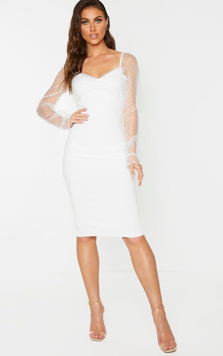 White Dobby Mesh Puff Sleeve Midi Dress 1
