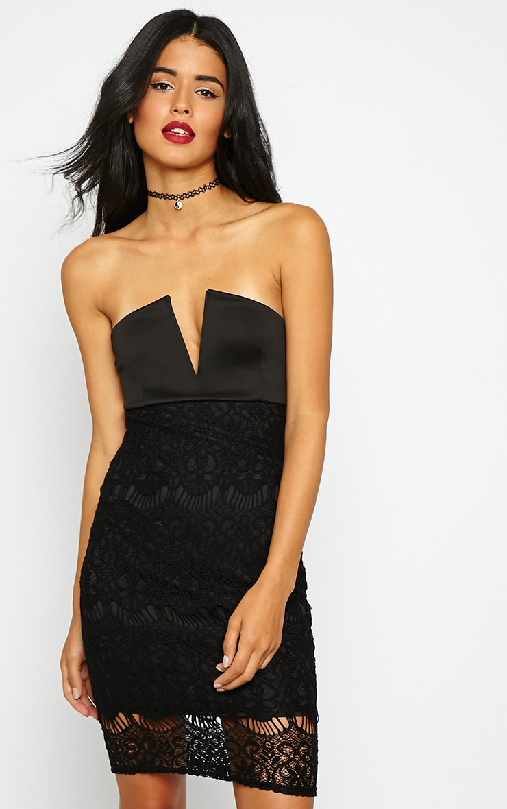 Georgiana Black Plunge Bandeau Lace Dress 5