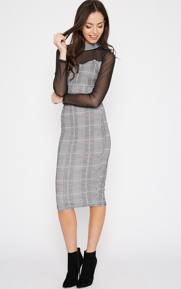 Alayna Monochrome Checked Mesh Crop Top  3