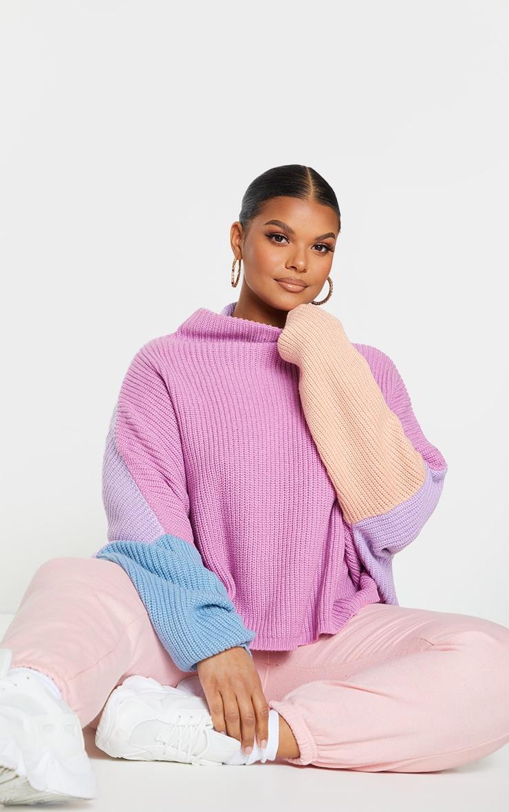 Plus Pink Oversized Color Block Sweater 1