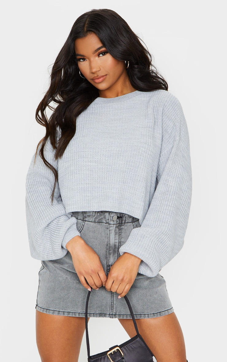 Grey Fisherman Knit Batwing Cropped Jumper 1