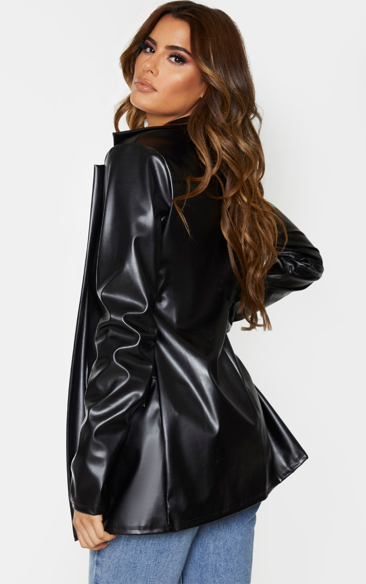 Tall Black Oversized Pocket PU Blazer 3