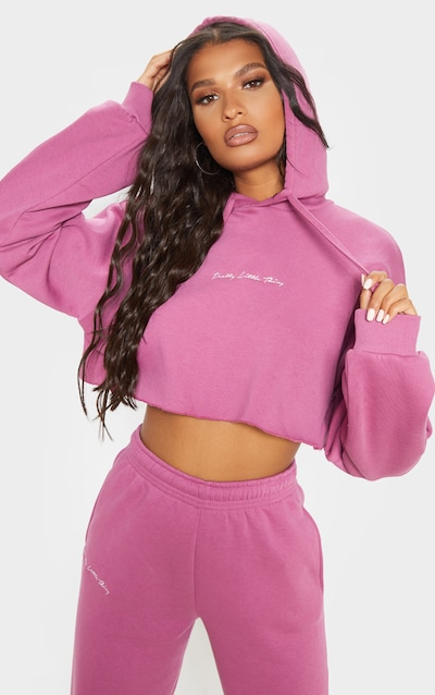 PRETTYLITTLETHING Washed Violet Cropped Hoodie