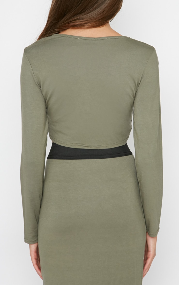 Una Khaki Long Sleeved Crop Top  2