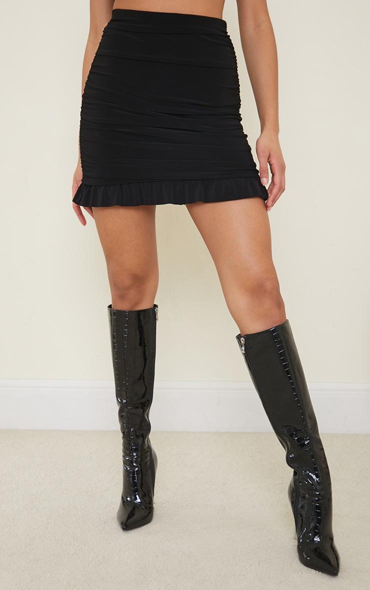 Black Slinky Ruched Side Frill Panel Hem Mini Skirt 2