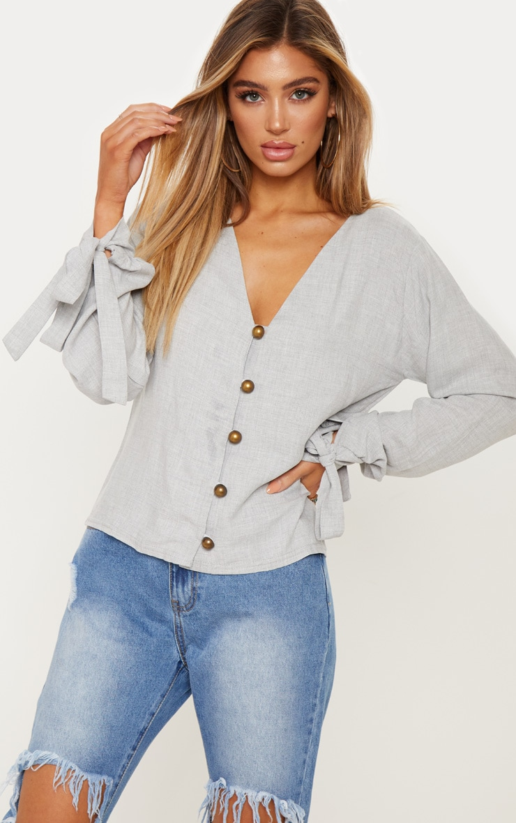 Grey Woven Button Front Tie Sleeve Top