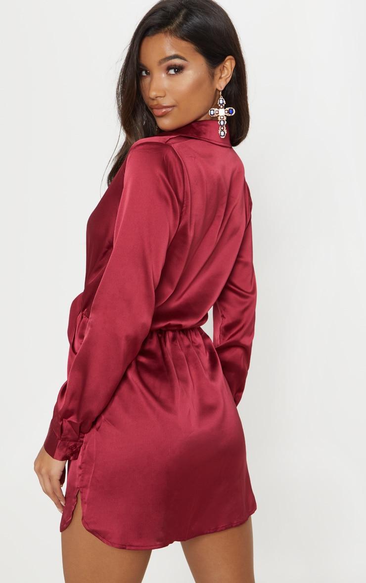 Katalea Burgundy Twist Front Silky Shirt Dress 2