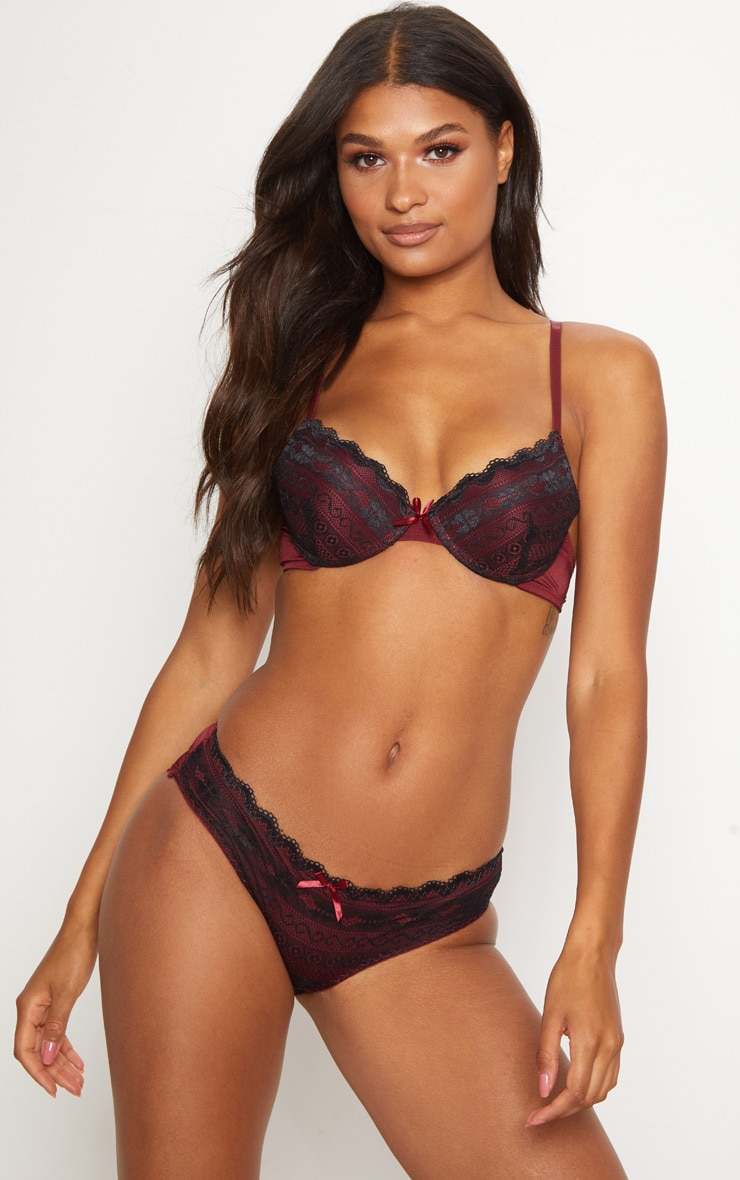 Burgundy Lace Push Up Lingerie Set