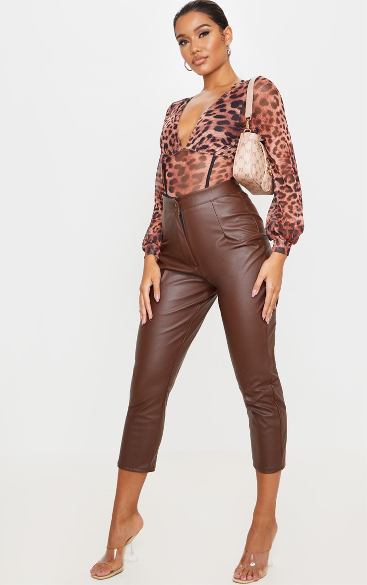 Tan Mesh Leopard Print Caged Detail Bodysuit 3