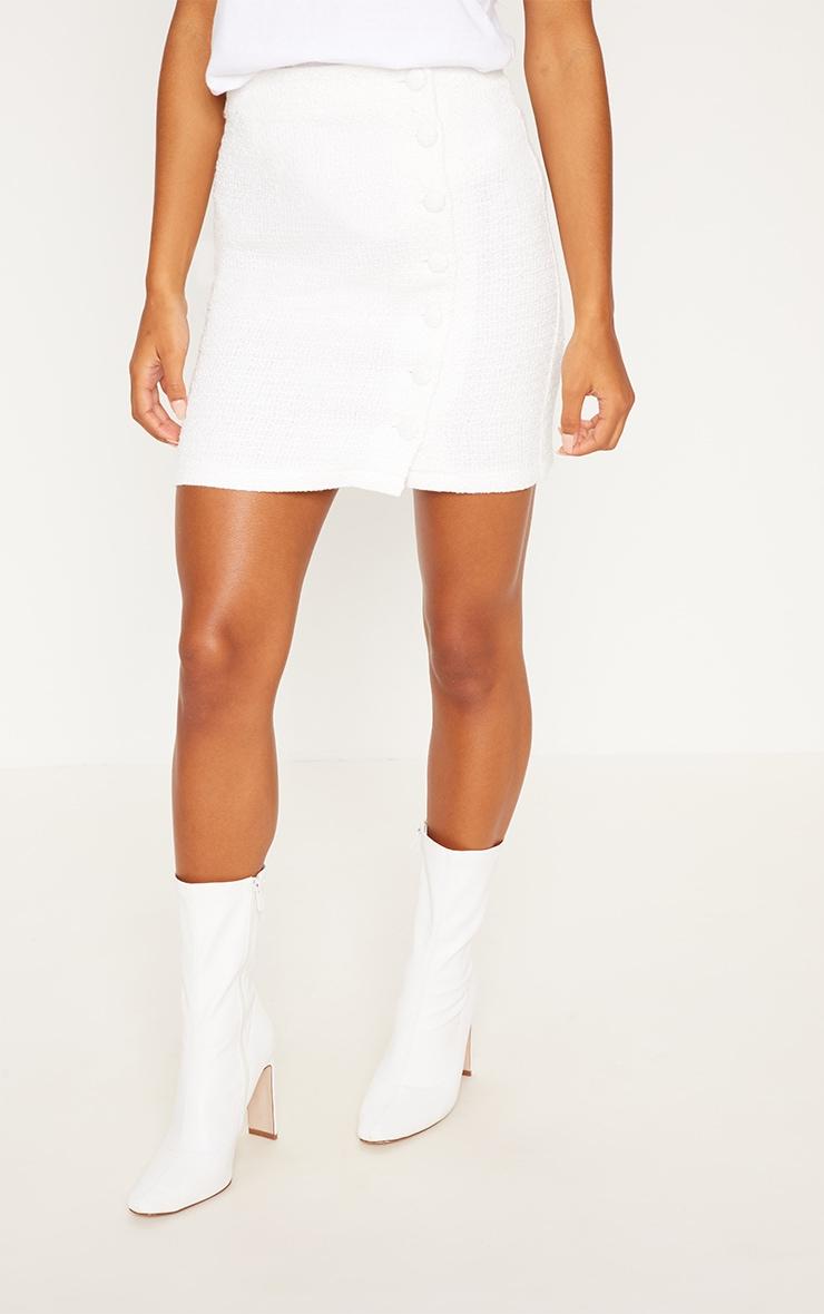 Cream Tweed Button Mini Skirt 2