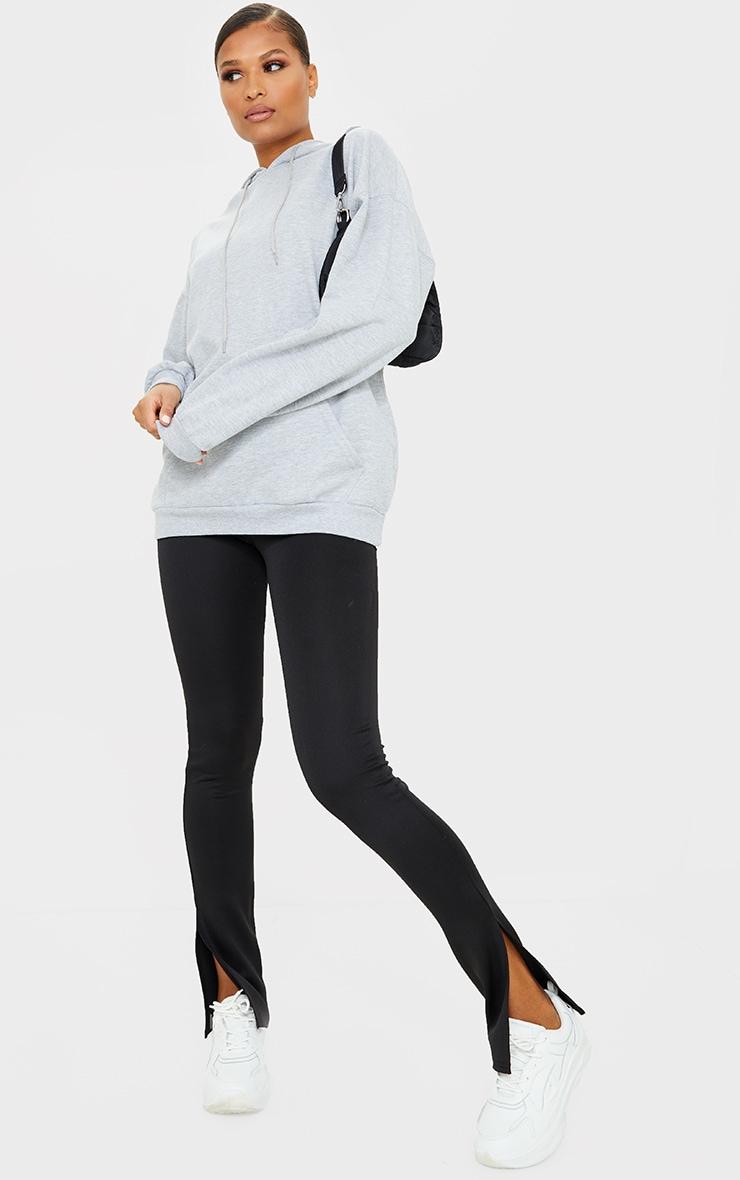 Black Scuba Split Hem Skinny Trousers 1