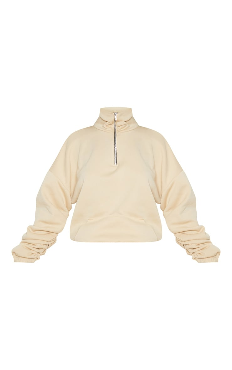 Cream Zip Oversized Ruched Sleeve Sweater 3