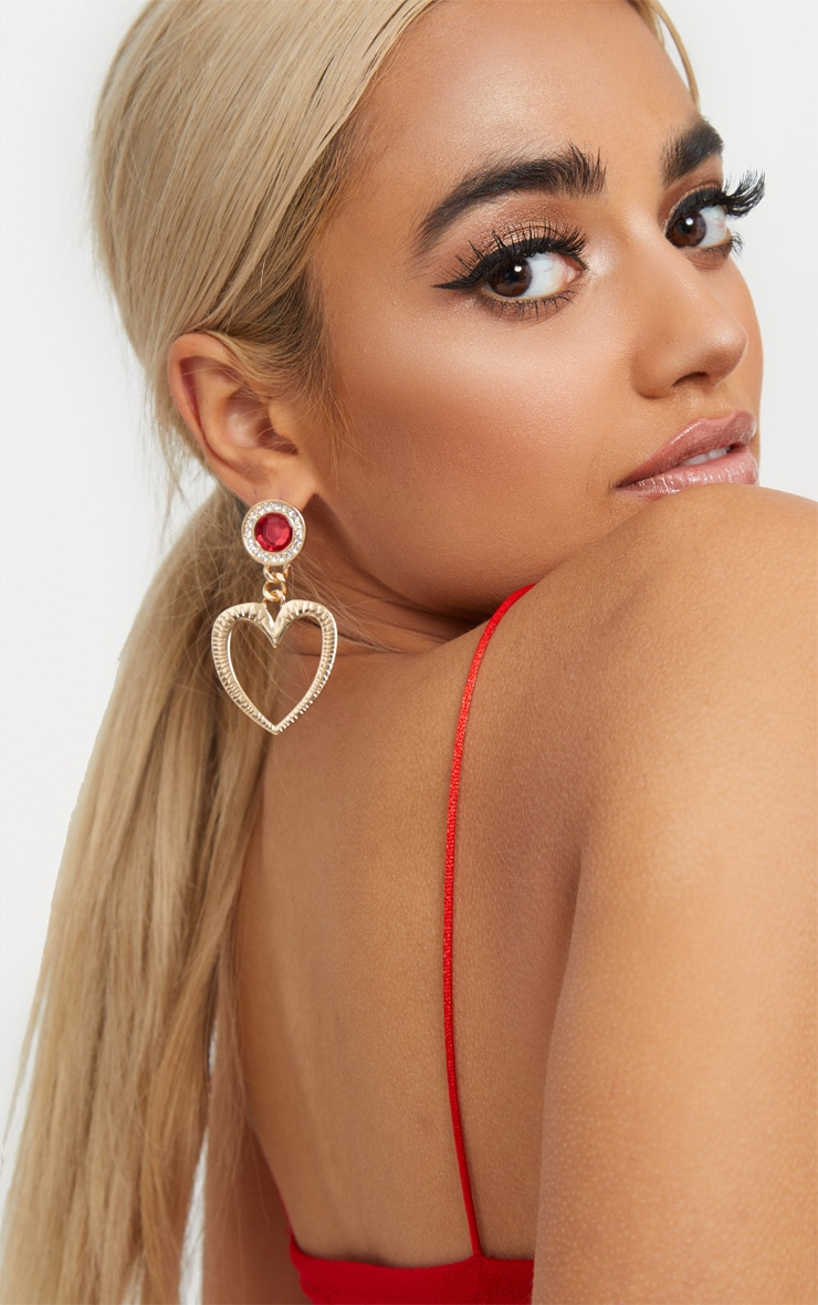 Gold Heart With Red Diamante Drop Earrings 1