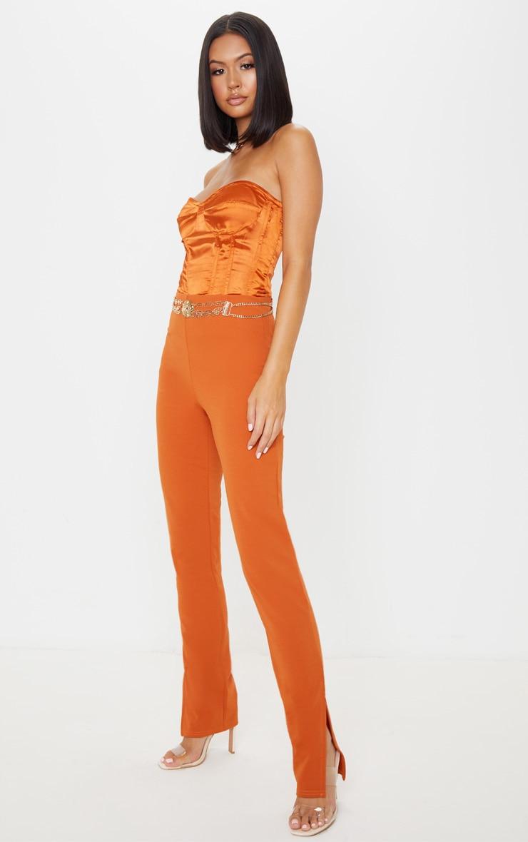 Rust Split Ankle Skinny Trousers 1