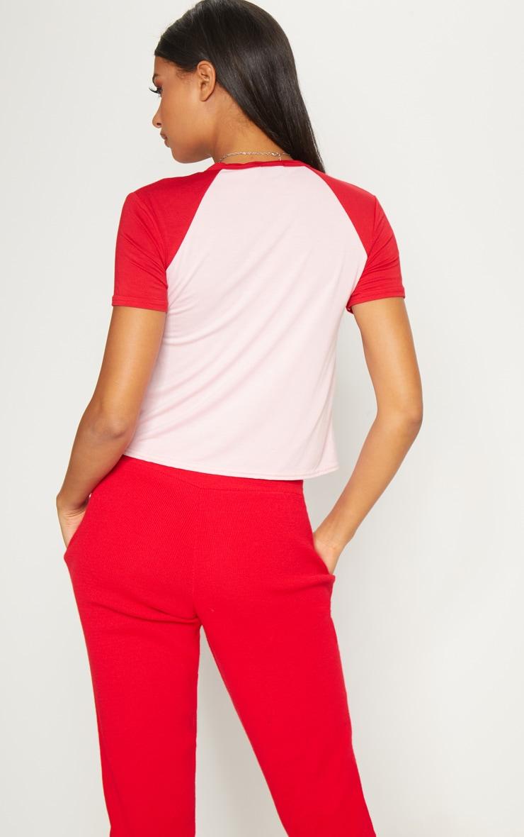 Pink Contrast Sleeve T Shirt 2