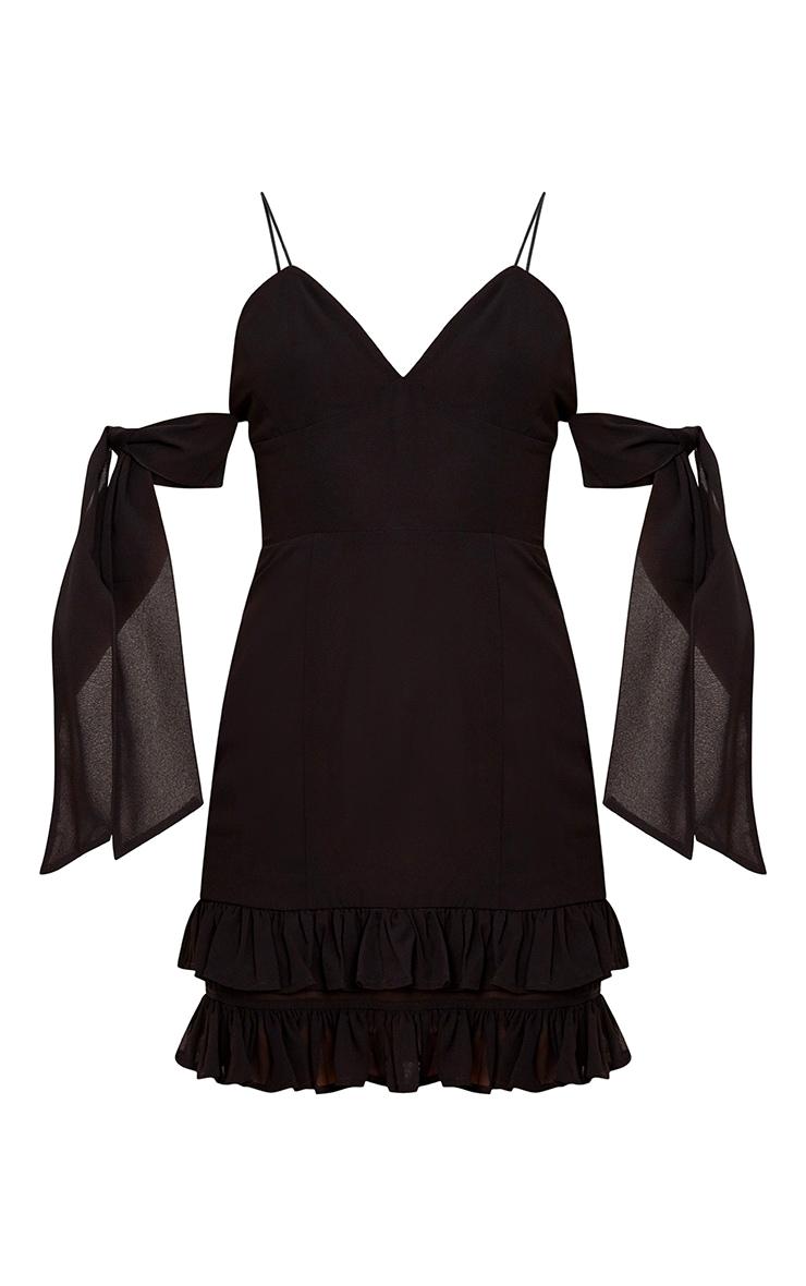 Black Tie Sleeve Frill Sleeve Bodycon Dress  3
