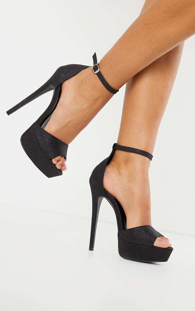 Black Glitter Texture Platform Heels 1