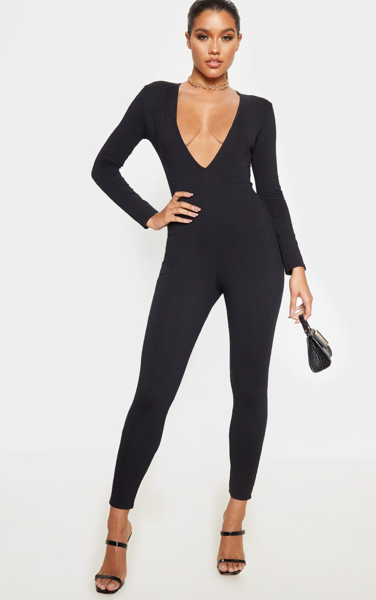 Black Cotton Elastane Long Sleeve Jumpsuit 1