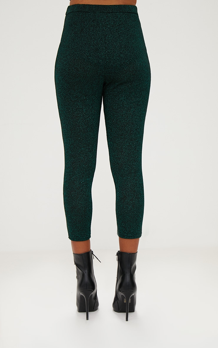 Emerald Green Metallic Cropped Leggings 4
