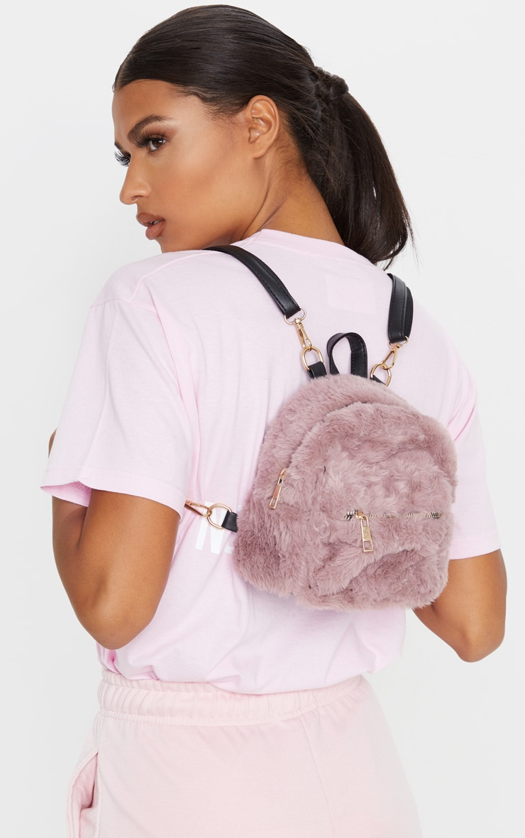 Dusty Lilac Faux Fur Mini Back Pack 1