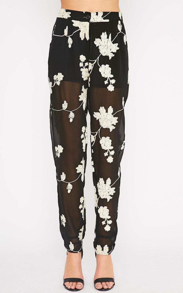 Aithne Black Floral Embroidered Sheer Trousers 4