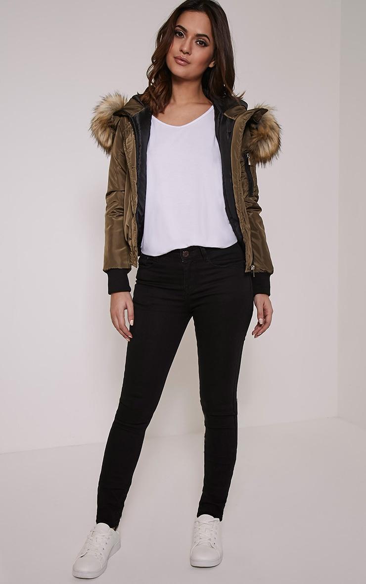 Lara Cream Premium Faux Fur Lined Crop Parka 5