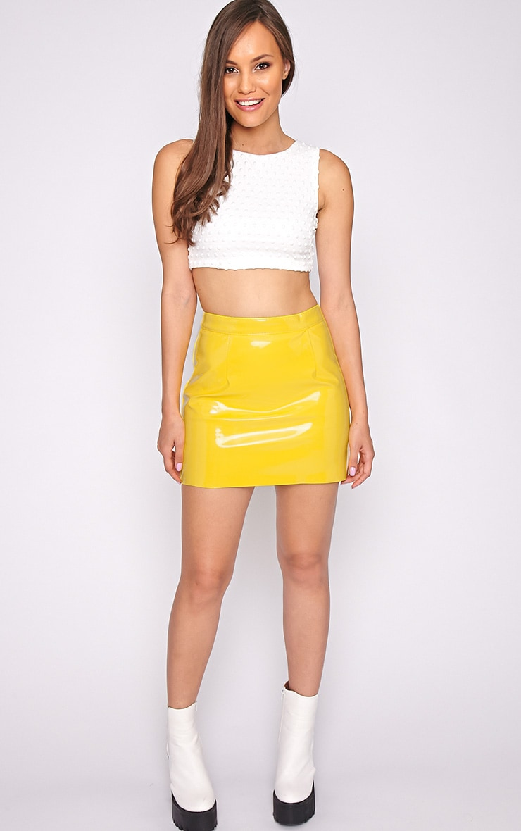 Daphne Yellow PVC Mini Skirt 5
