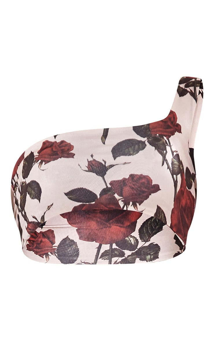 Nude Floral Printed One Shoulder Crop Top 5