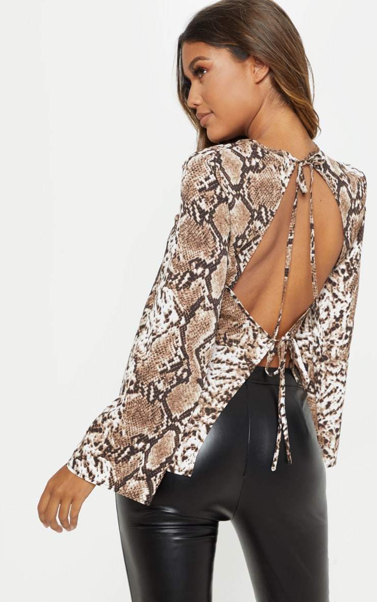 Stone Snake Print Backless Blouse