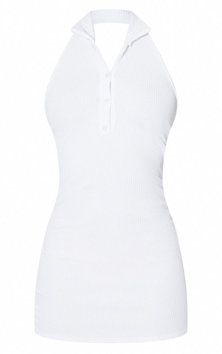 White Rib Halterneck Button Detail Bodycon Dress 5