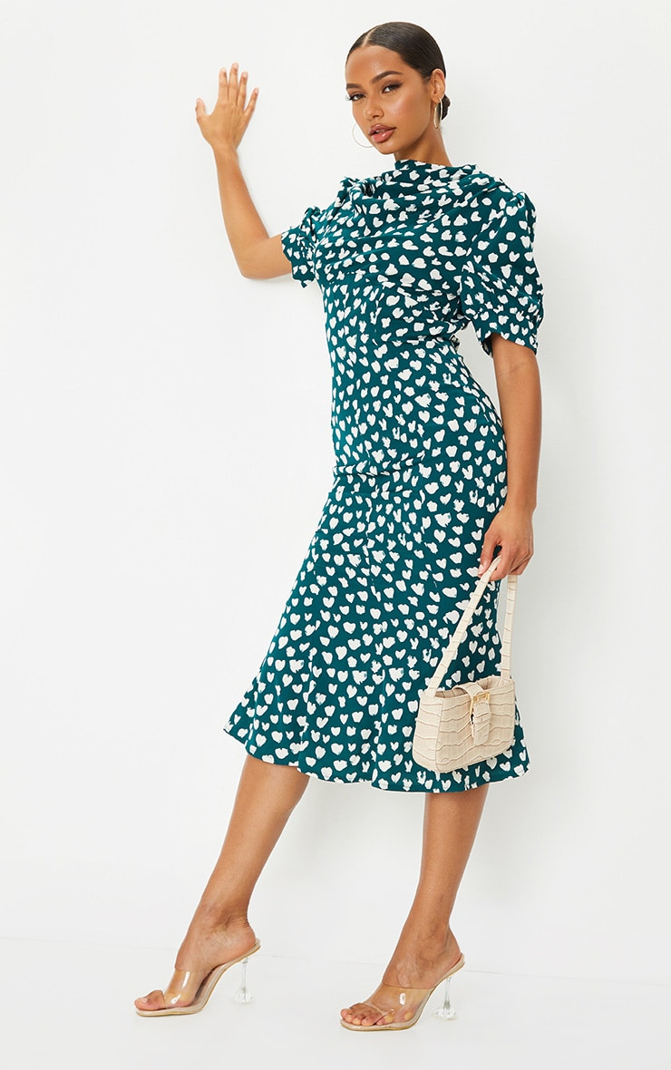 Emerald Green Dalmatian Print Puff Sleeve Cowl Neck Midi Dress 3
