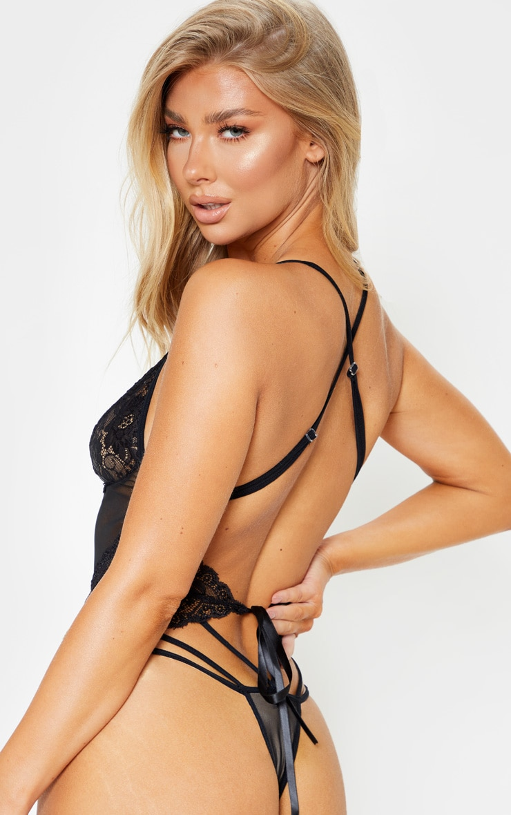 Black Strapping Detail Lace Body 2