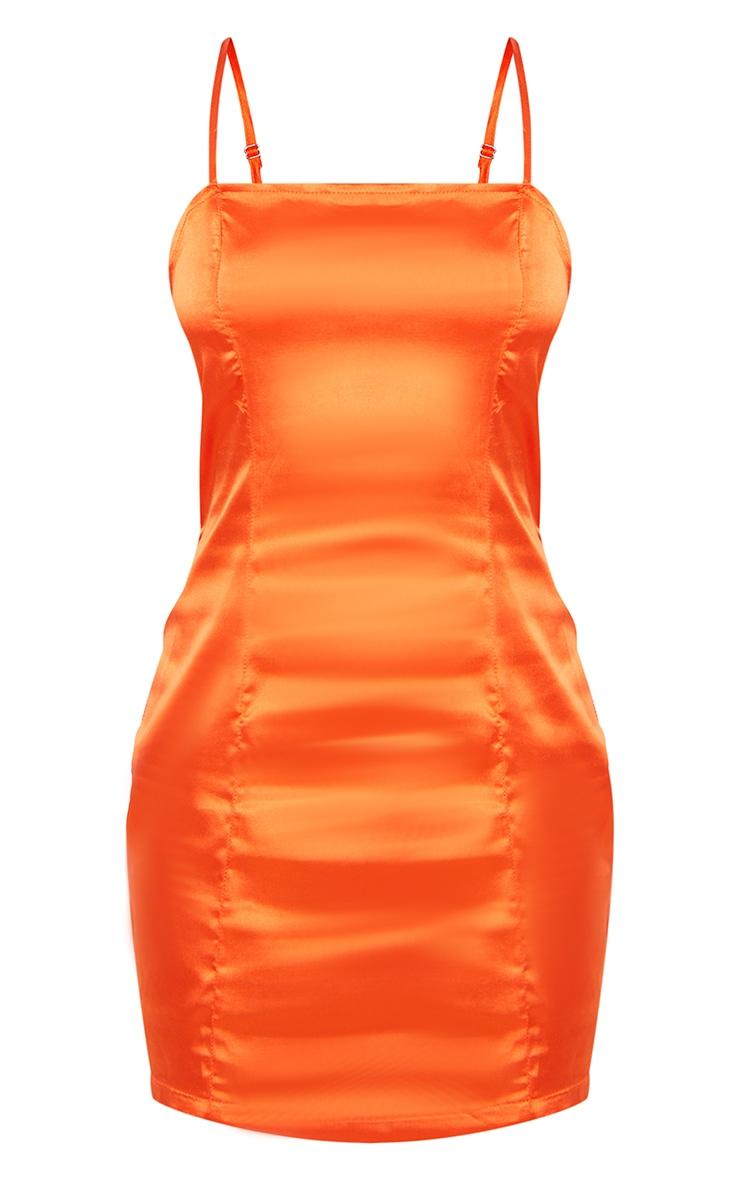 Petite Burnt Orange Satin Strappy Straight Neck Bodycon Dress 5
