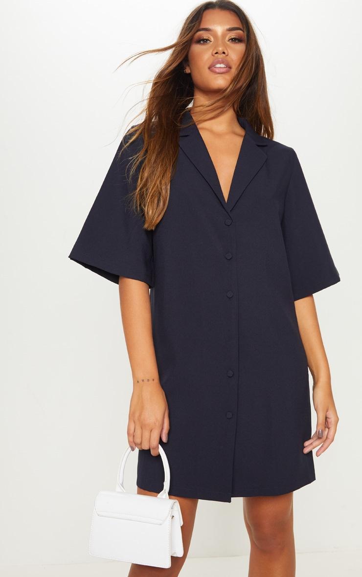 Robe chemise bleu marine à manches courtes