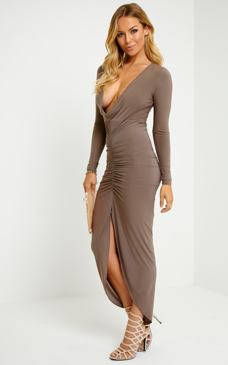 Ellie Mocha Slinky Ruched Maxi Dress 3