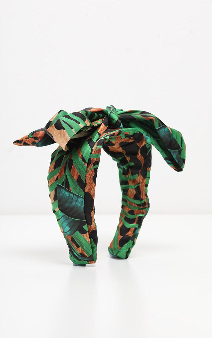 Green Palm And Leopard  Tropical Floral Bow Head Headband 3