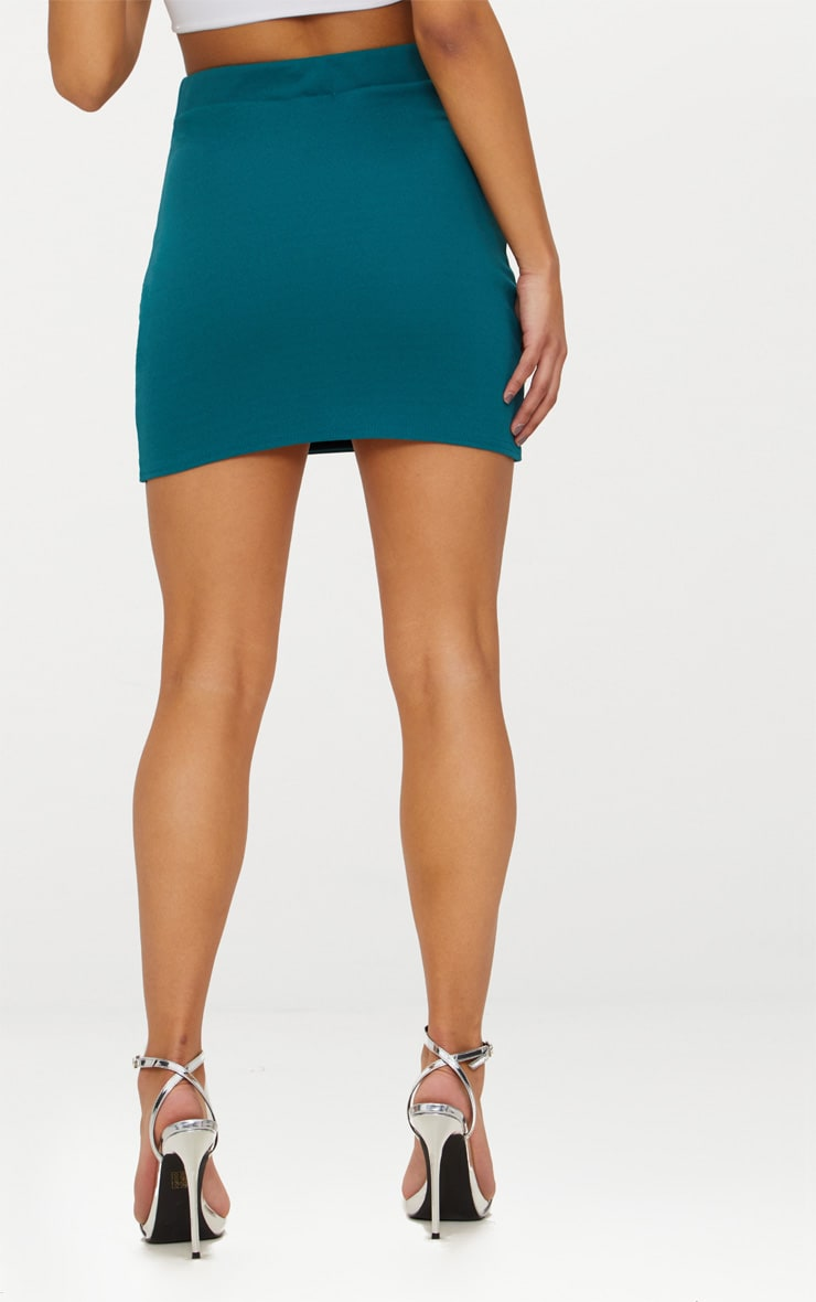 Emerald Green Double Split Lace Up Mini Skirt  4