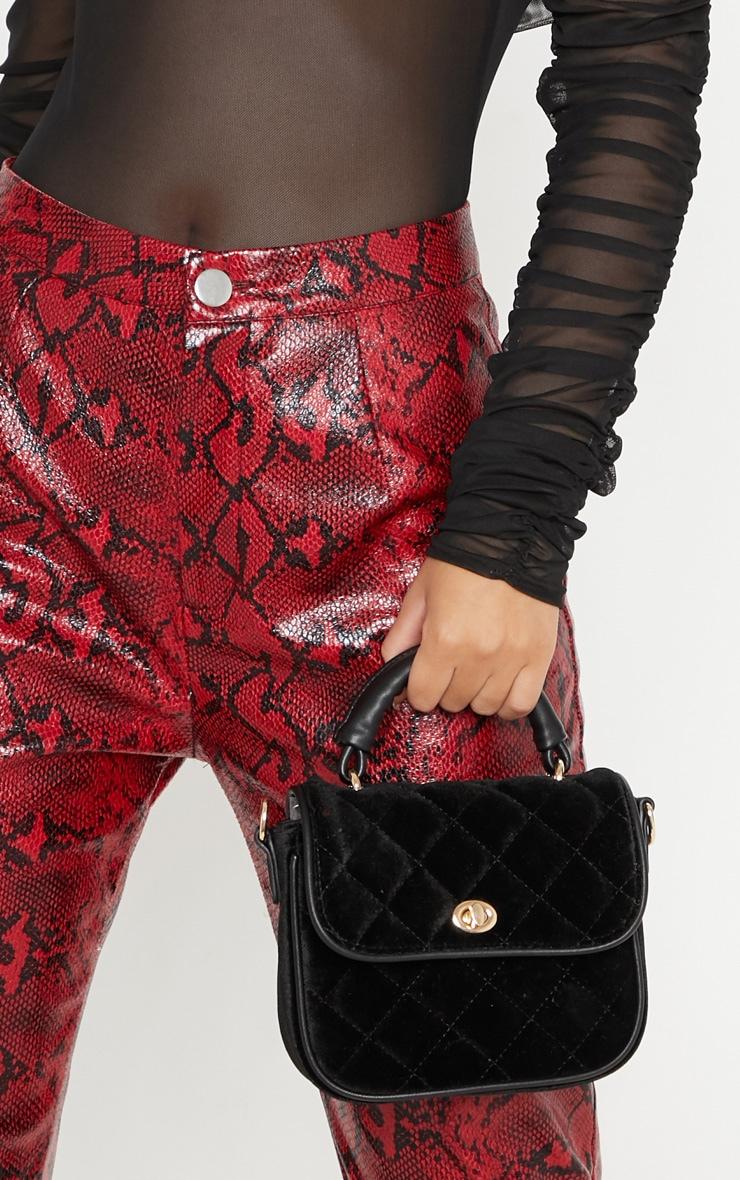 Black Quilted Velvet Mini Bag
