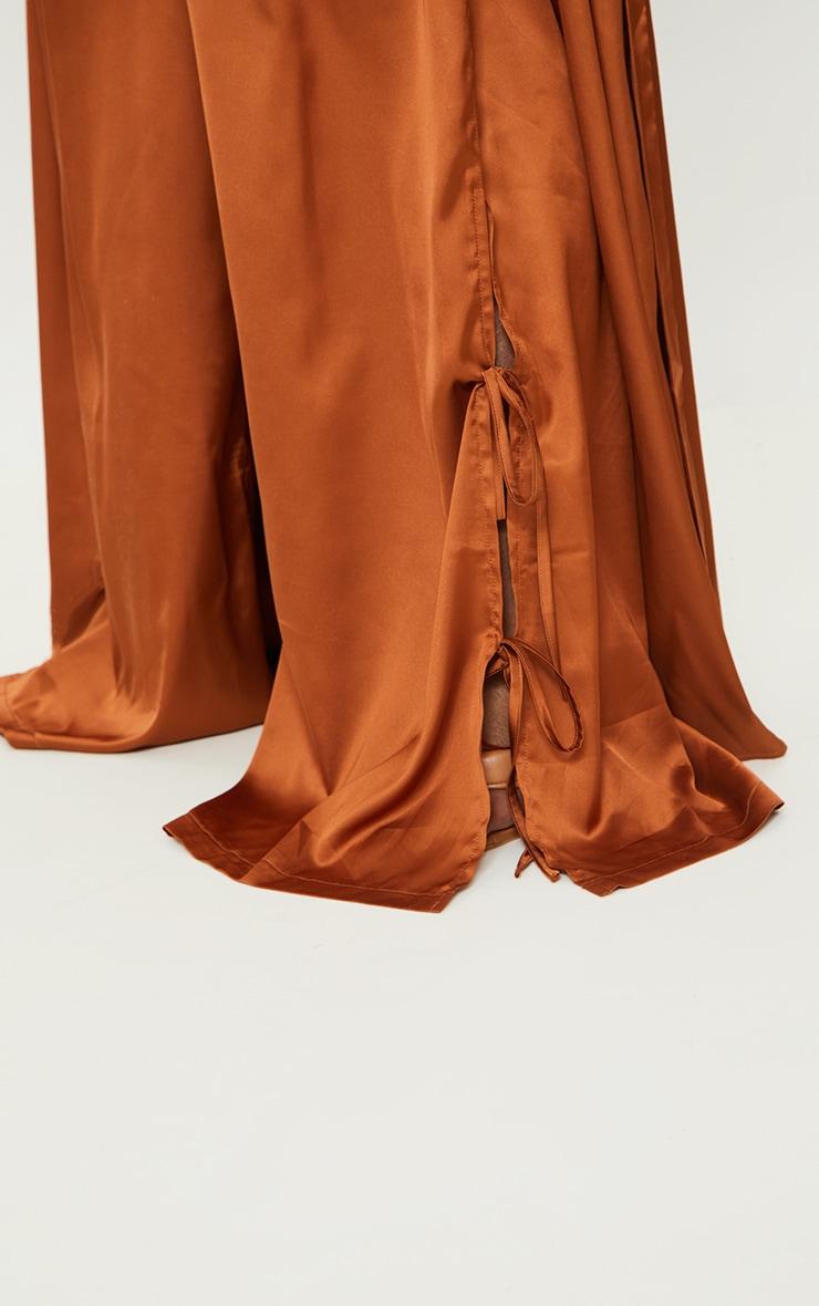 Plus Rust Satin Wide Leg Tie Pants 4