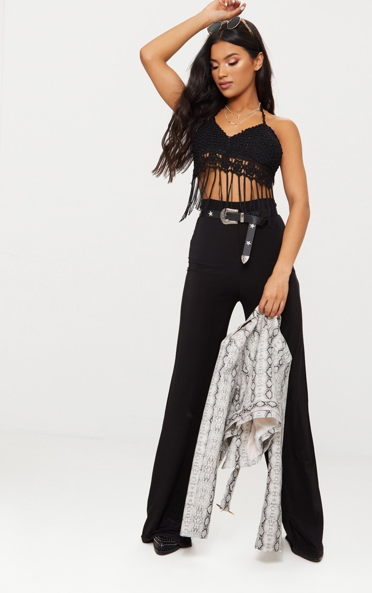 Black Beaded Crochet Tassel Hem Bralet 3