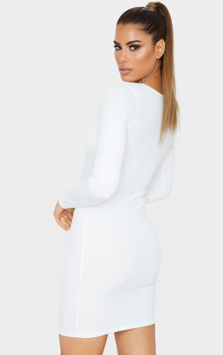 Tall Cream Ribbed Cup Detail Long Sleeve Mini Dress  2