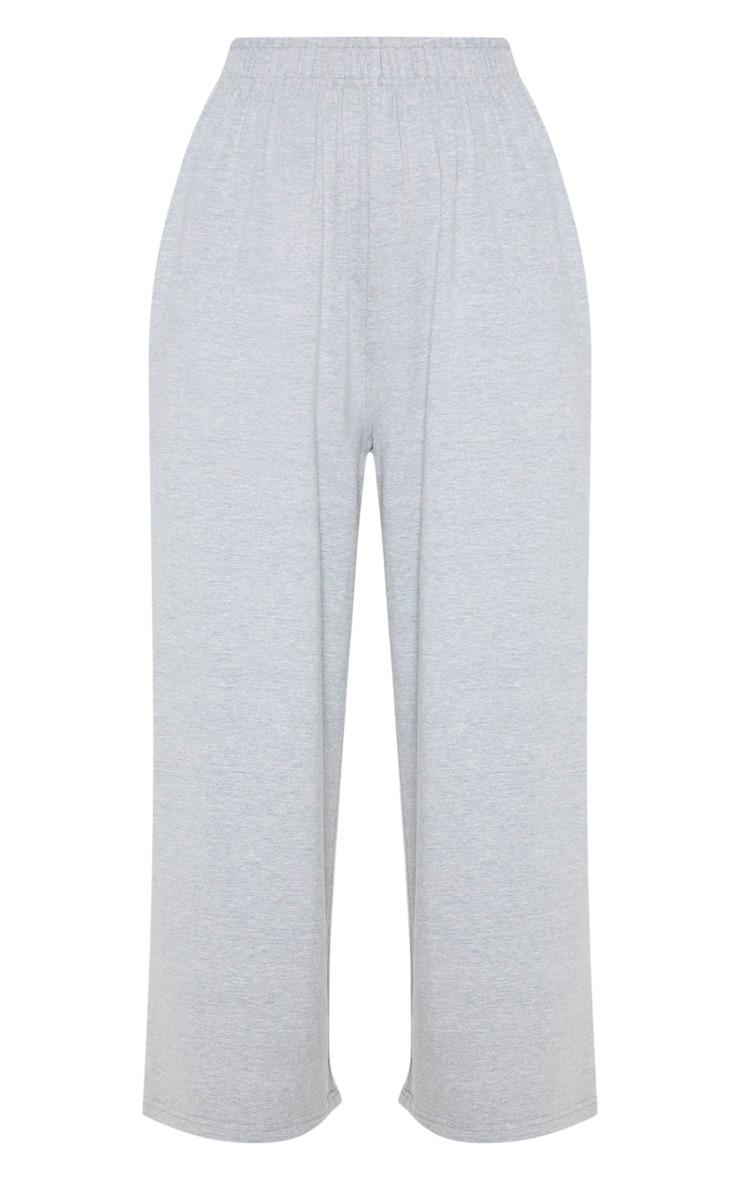Pantalon court en jersey gris à coutures contrastantes et jambes évasées 3