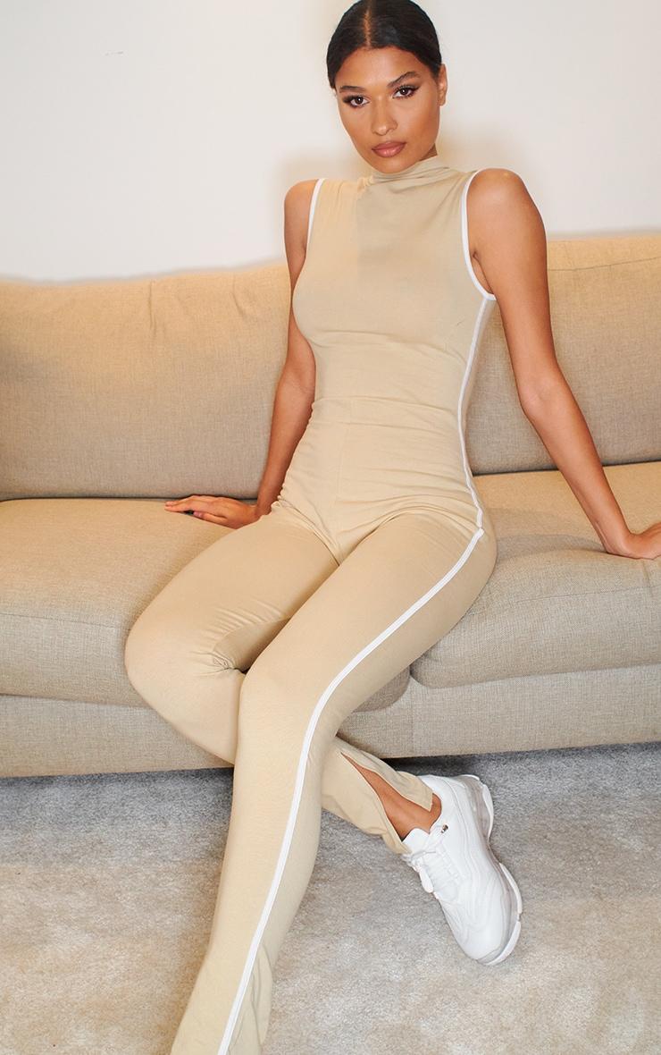 Stone Zip Detail Sports Stripe Sleeveless Jumpsuit 1