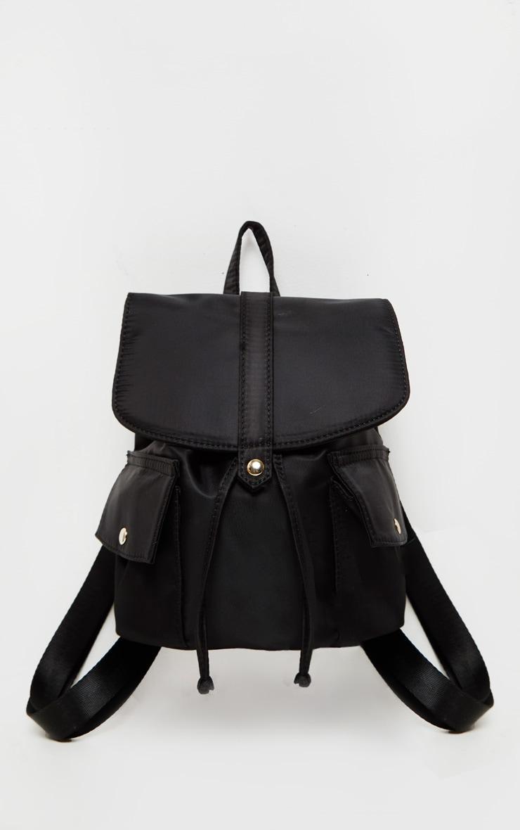 Black Nylon Double Pocket Backpack 2