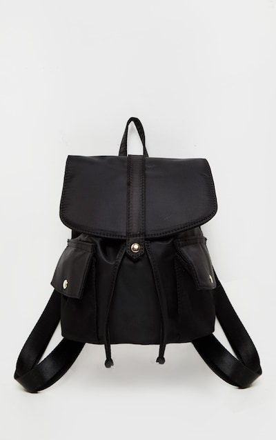 Black Nylon Double Pocket Backpack
