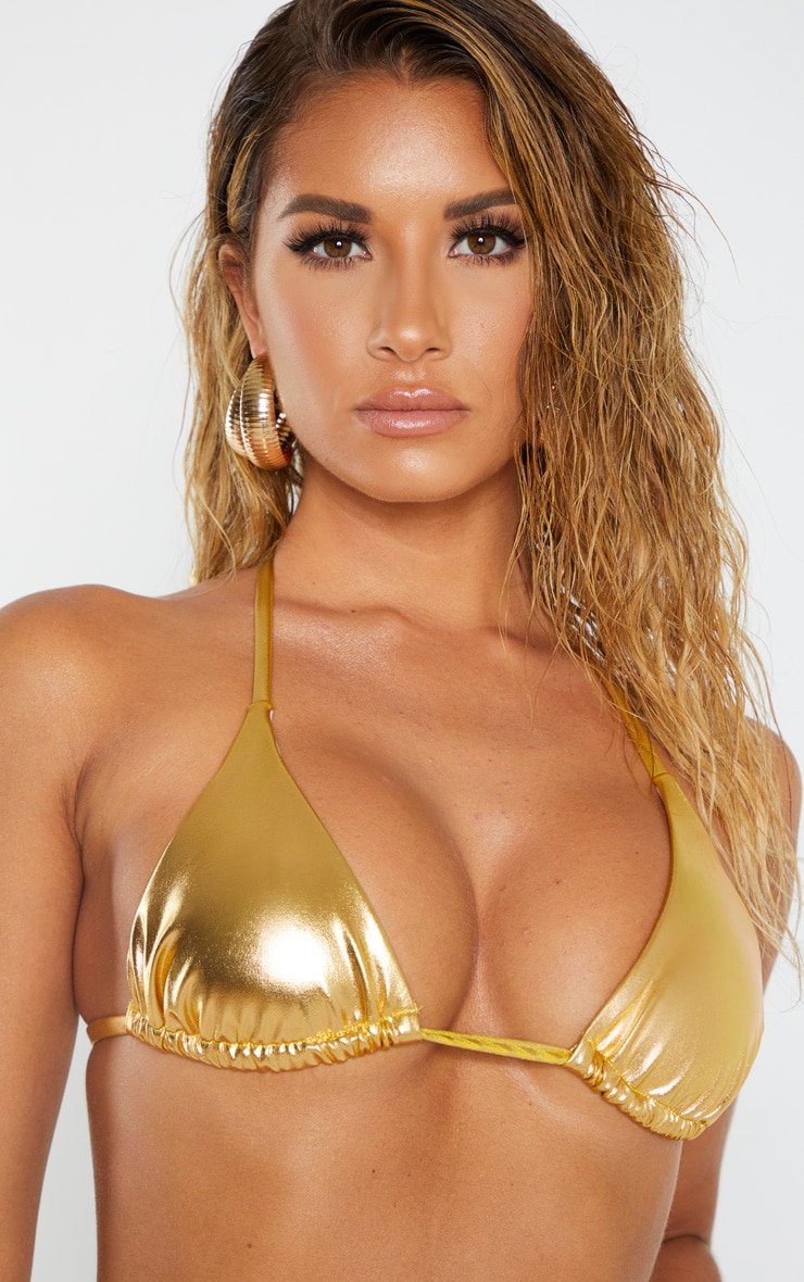Gold Metallic Bikini Top 5