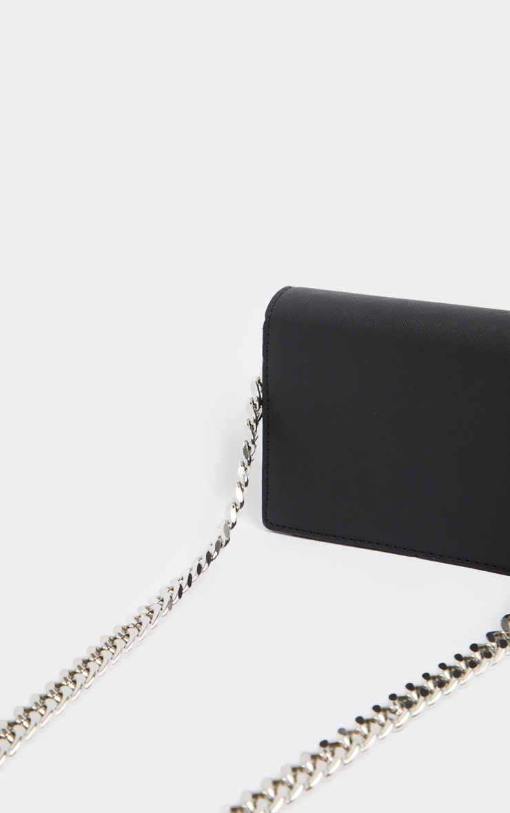Black PU Chunky Chain Cross Body Bag 3